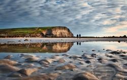 Beautiful morning scenery at Silverstrand beach in Galway, Ireland