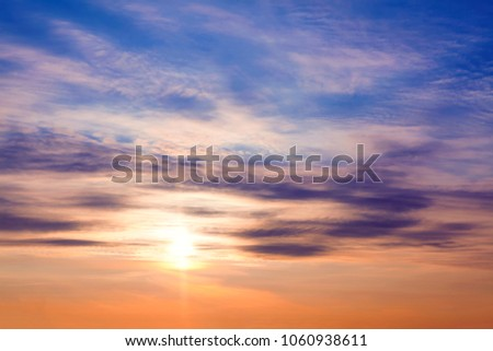 beautiful morning scenery with sunrise on the sky  #1060938611