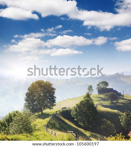 Beautiful morning sunny day is in mountain landscape. Carpathian, Ukraine.