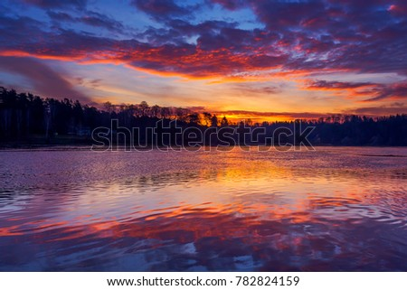 Beautiful morning with rising sun and colorful sky