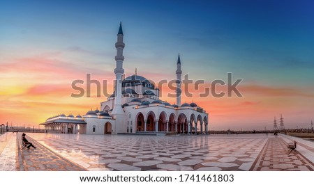 Beautiful Mosque in the world Sharjah New Mosque Amazing Architecture Design great view during sunset Dubai Travel and Tourism image famous tourism spot