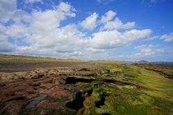 beautiful mossy rock beach against a background of blue sky and charming clouds