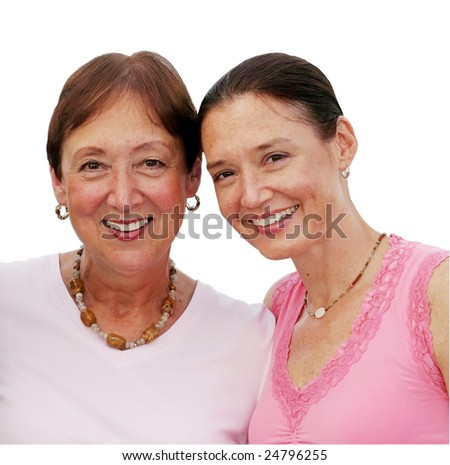 beautiful mother and daughter; clipping path
