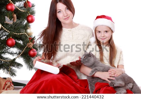 Beautiful mother and pretty daughter holding lovely gray British cat over Christmas tree on Holiday theme/Lovely mother and daughter playing with domestic animal on holiday theme