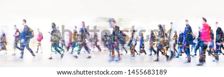 Beautiful motion blur of walking people. Early morning rush hours, busy modern life concept. Ideal for websites and magazines layouts #1455683189