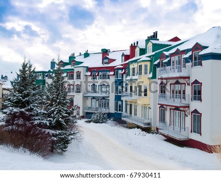 Beautiful Mount-Tremblant village in ski resort in winter view Canada