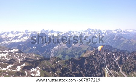 Beautiful mountain and nature view, alp mountains, parachuting\n\t\n