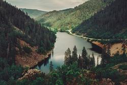 Beautiful mountain lake Amut, Khabarovsk region, Far East, Russia