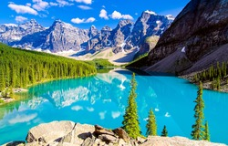 Beautiful mountain lake in nature valley at summer