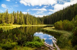 Beautiful mountain lake Maricheika in the Ukrainian Carpathians. Summer sunny day. Ukrainian nature of the beautiful places of the country. Buffer zone.