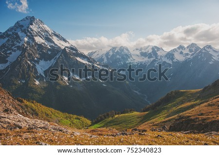Beautiful mountain landscape and blue sky outdoor #752340823