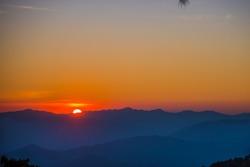 Beautiful mountain landscape at sunset, Sunset on the mountain