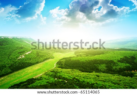 Beautiful mountain landscape. Composition of nature. - stock photo