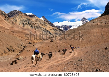 Beautiful mountain landscape near Aconcagua with hikers trekking, Argentina, South America