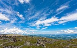 Beautiful mountain landscape under the bright blue sky. Mountain Altai.