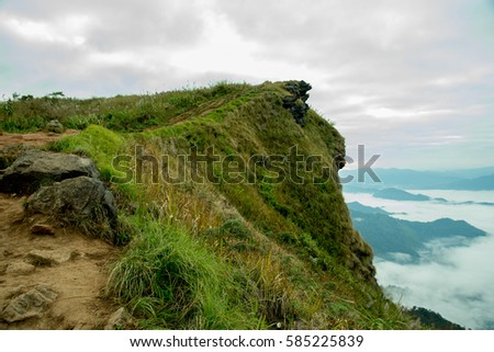 Beautiful mountain landscape with fog in the background at Phu chi fah Chiang rai, Thailand landmark of camping traveler #585225839