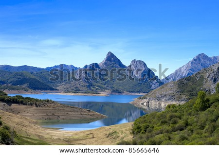 Beautiful mountain landscape with small lake in Spain.