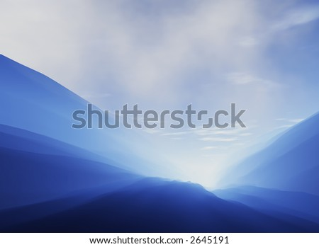 Beautiful mountain landscape with the sun shining through the hills