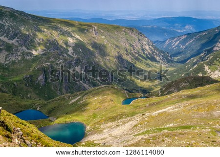 Beautiful mountain landscape with three blue lakes and valley with a mountain stream in the Rila mountain, Urdini Lakes, Bulgaria #1286114080