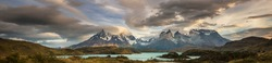 Beautiful mountain landscapes in Torres Del Paine National Park, Chile. World famous hiking region. Panorama