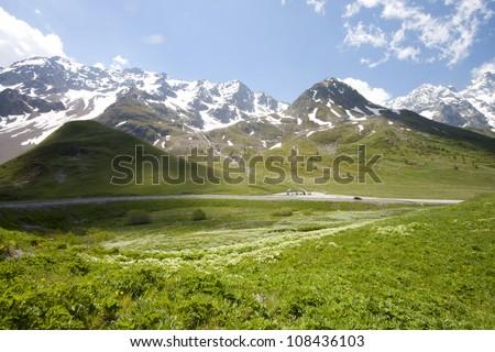 Beautiful mountain (Monetier Les Bains) in Grenoble, France. Zdjęcia stock ©
