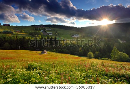beautiful mountain nature with sun - stock photo