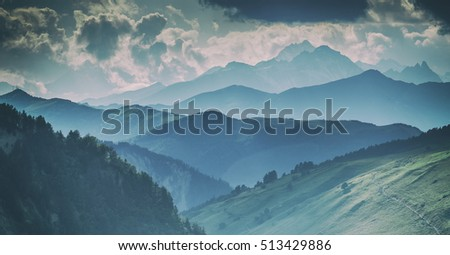 beautiful mountain on summer time, toned like instagram filter #513429886