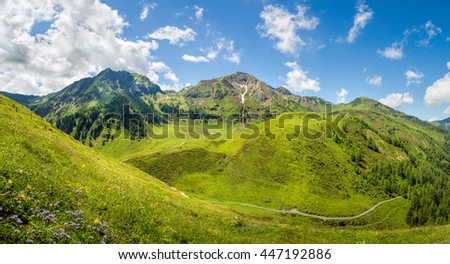 Beautiful mountain panorama landscape in the alps, Tyrol, Austria