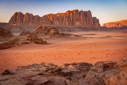 Beautiful mountain range in Wadi Rum, Jordan