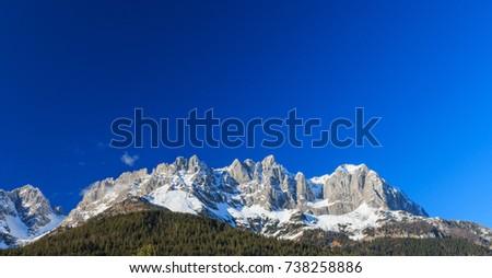 Beautiful mountain range (Kaiser Mountains) at Wilder Kaiser region in Tyrol, Austria