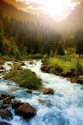 Beautiful Mountain river landscape in Dolomites mountain