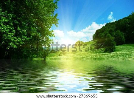 beautiful mountain valley reflection on river surface