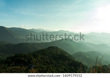 Beautiful Mountain valley with morning sunlight Kerala nature landscape image, famous Tourist spot in Kannur Kerala, India tourism and travel image