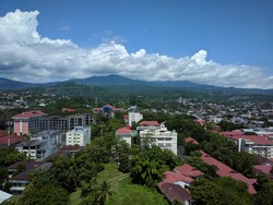 beautiful mountain view with clouds in Manado city, Indonesia