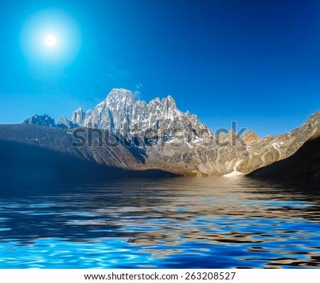 Beautiful mountain view with reflection in Gokyo Lake, Himalayas, Nepal. #263208527