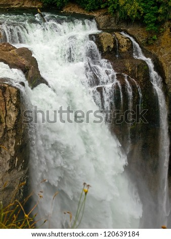 Beautiful Mountain Waterfall in Snoqualmie Washington USA