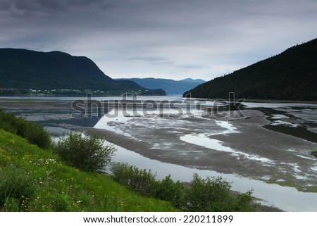 Beautiful  mountainous landscape with coastline and fishing villages in Newfoundland, Canada