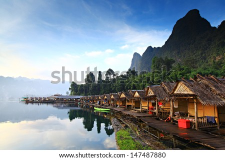 Beautiful mountains and river natural attractions in Ratchaprapha Dam at Khao Sok National Park, Surat Thani Province, Thailand.