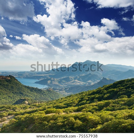 Beautiful mountains landscape and blue sky