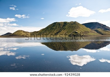 beautiful mountains reflectng in the lake, clouds