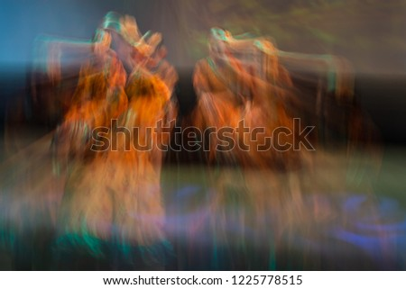 Beautiful movements in dance, shot on long exposure. Children ensemble. Moscow. Russia #1225778515