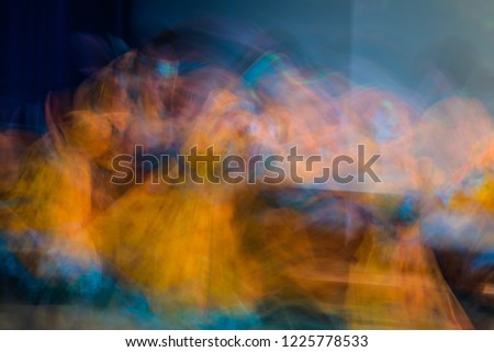 Beautiful movements in dance, shot on long exposure. Children ensemble. Moscow. Russia #1225778533