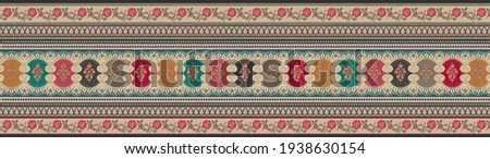 Beautiful Mughal Border With Multicolored Style For Textile Prints