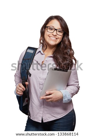 Beautiful multi ethnic young woman student