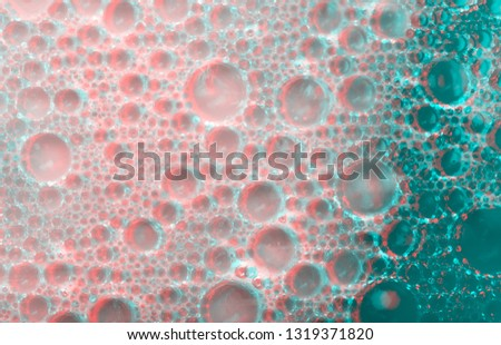 Beautiful Multicolored abstract background texture with bubbles. Bright and festive pictures for decoration and design. Spray Paint Coral color with glitch effect