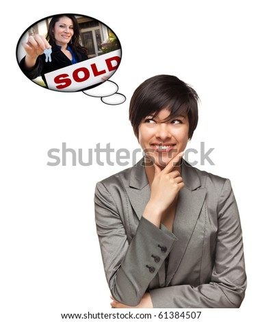Beautiful Multiethnic Woman with Thought Bubbles of Real Estate Agent Holding Sold Sign Handing Over Keys Isolated on a White Background. - stock photo