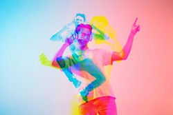 Beautiful. Multiple portrait with glitch duotone effect. Multiple exposure, abstract fashionable beauty photo. Young beautiful male model posing. Youth culture, composite image, fashionable people.
