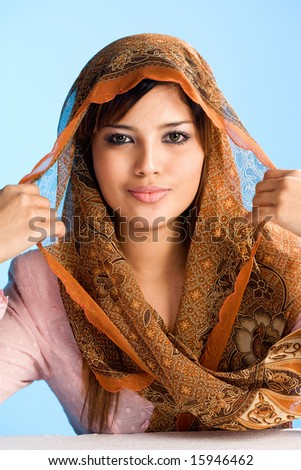 Muslim Girls With Scarf. stock photo : beautiful Muslim