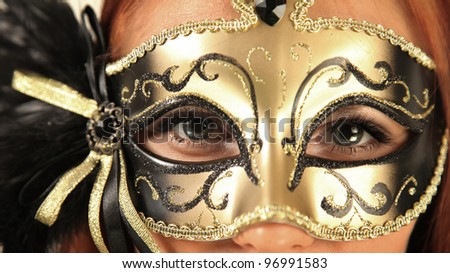 beautiful mysterious woman in mask