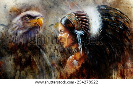 beautiful mystic painting of a young indian woman with hawk wearing a big feather headdress, a profile portrait on structured abstract background